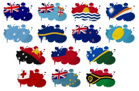 oceania: Oceania countries flag blots on a white background