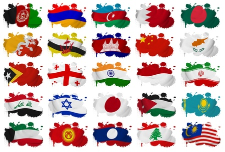 Asia countries  From A to M  flag blots on a white background