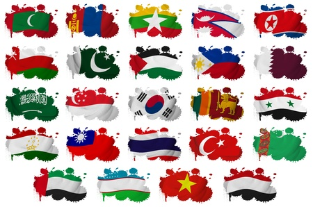 Asia countries  From M to Y  flag blots on a white background photo