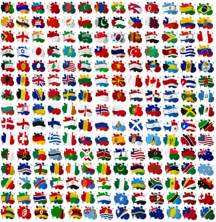 All World countries flag blots on a white background photo