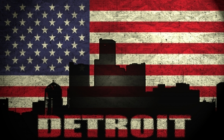 View of Detroit City on the Grunge American Flag photo
