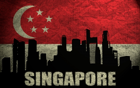View of Singapore on the Grunge Flag