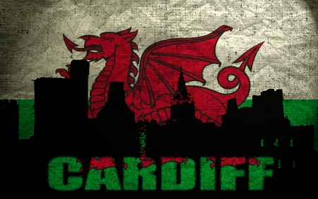 cardiff: View of Cardiff on the Grunge Welsh Flag Stock Photo