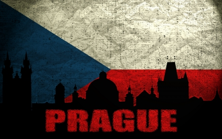 View of Prague on the Grunge Czech Republic Flag photo