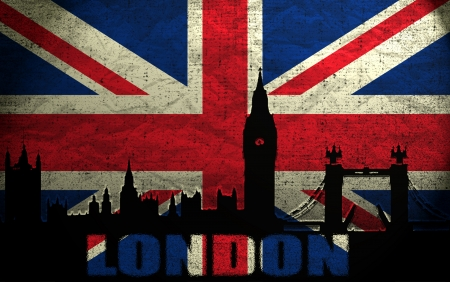 british flag: View of London on the Grunge British Flag