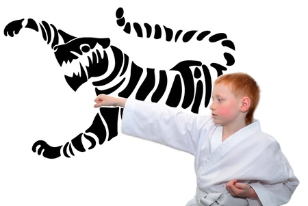 Boy in white kimono showing a fight kick photo