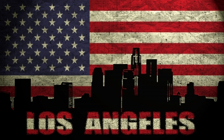 View of Los Angeles City on the Grunge American Flag Stock Photo