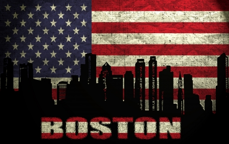 View of Boston City on the Grunge American Flag photo