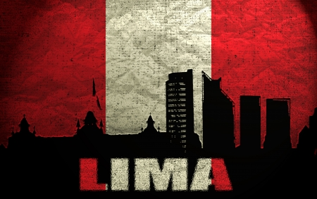 lima: View of Lima on the Grunge Peruvian Flag