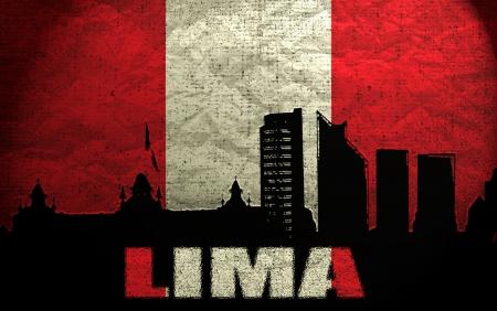bandera de peru: Vista de Lima en la bandera peruana Grunge Foto de archivo