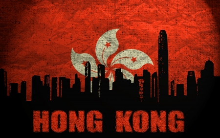 View of Hong Kong on the Grunge  Flag photo