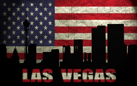 View of Las Vegas City on the Grunge American Flag