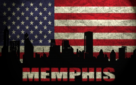 View of Memphis City on the Grunge American Flag photo