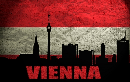 View of  Vienna on the Grunge Austrian Flag photo
