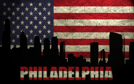 View of Philadelphia City on the Grunge American Flag photo