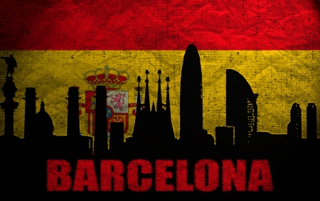 View of Barcelona on the Grunge Spanish Flag photo
