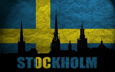 View of Stockholm on the Grunge Swedish Flag