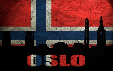 View of Oslo on the Grunge Norwegian Flag photo