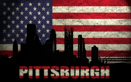 View of Pittsburgh City on the Grunge American Flag photo