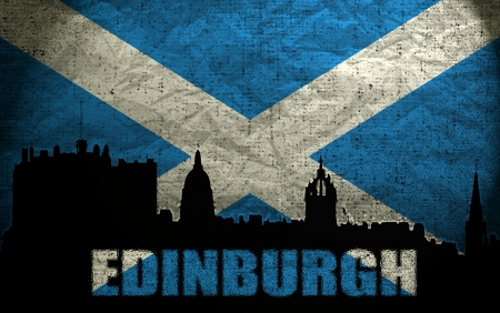 scottish flag: Visualizzazione di Edimburgo sul Grunge Scottish Flag