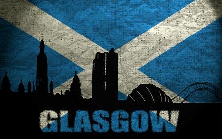 View of Glasgow on the Grunge Scottish Flag photo
