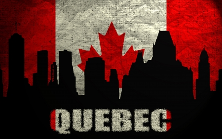 View of  Quebec on the Grunge Canadian Flag photo