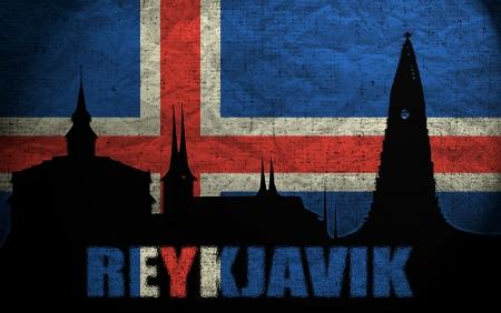 icelandic flag: Vista de Reykjavik en Islandia Grunge Flag