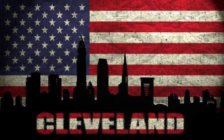 View of Cleveland City on the Grunge American Flag photo