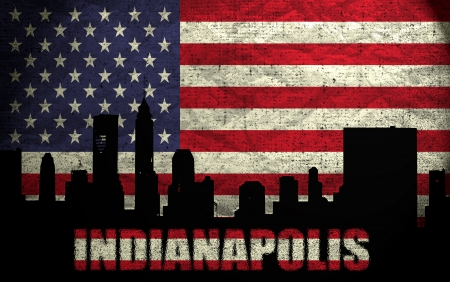 View of Indianapolis City on the Grunge American Flag photo
