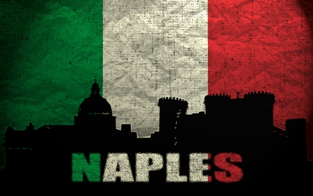 View of Naples on the Grunge Italian Flag photo