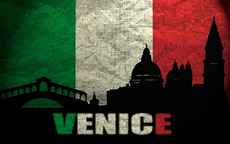 View of Venice on the Grunge Italian Flag photo