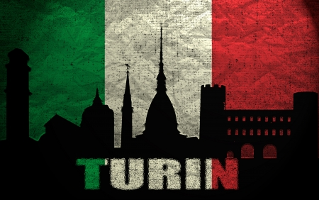 View of Turin on the Grunge Italian Flag photo