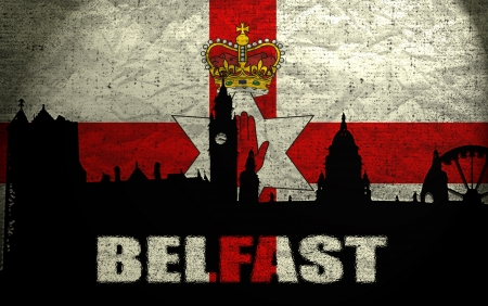 View of Belfast on the Grunge Northern Ireland Flag photo