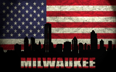 View of Milwaukee City on the Grunge American Flag