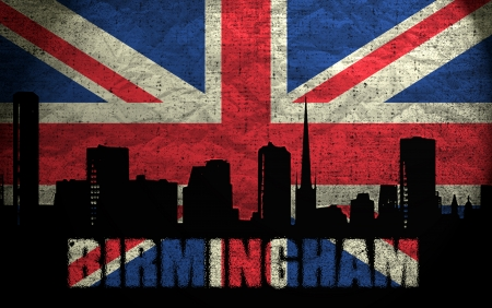 View of Birmingham on the Grunge British Flag photo