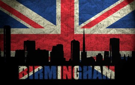 View of Birmingham on the Grunge British Flag photo