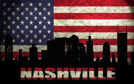 View of Nashville City on the Grunge American Flag