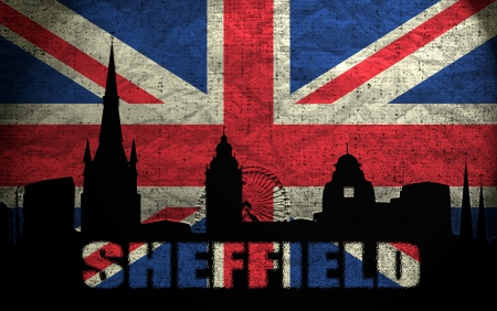 sheffield: View of Sheffield on the Grunge British Flag Stock Photo