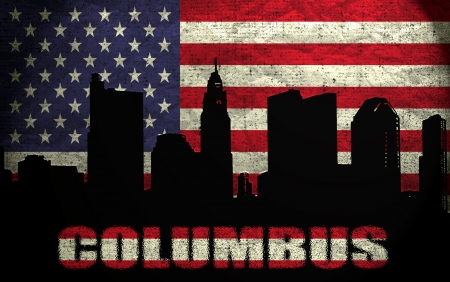 View of Columbus City on the Grunge American Flag photo
