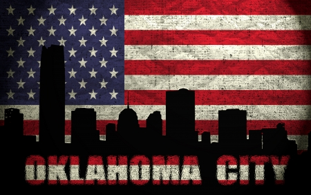 View of Oklahoma City on the Grunge American Flag photo