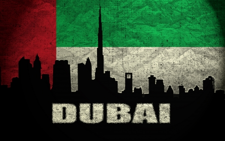 dubai flag: Vista de Dubai en el Grunge United Arab Emirates Flag