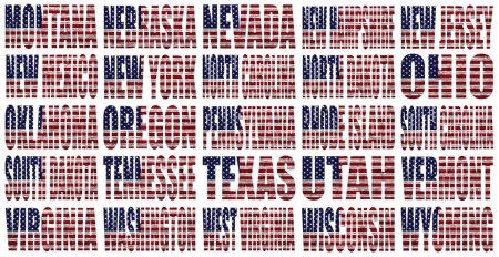 American States From M to W flag words on a white background photo