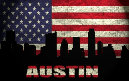 View of Austin City on the Grunge American Flag photo