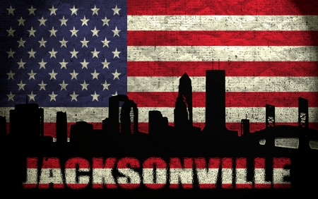 View of Jacksonville City on the Grunge American Flag