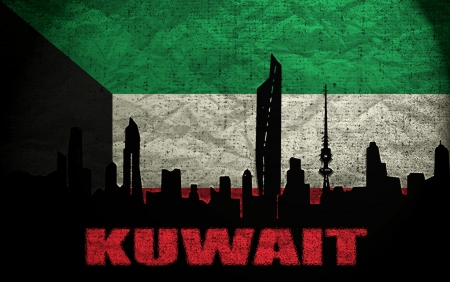 View of Kuwait on the Grunge Flag photo