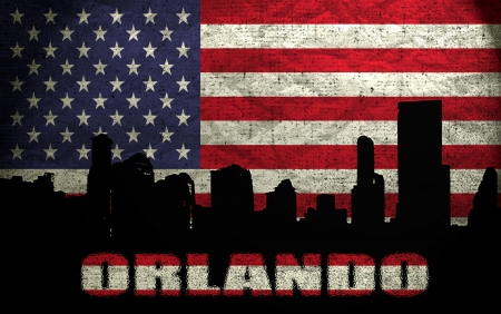 View of Orlando City on the Grunge American Flag photo
