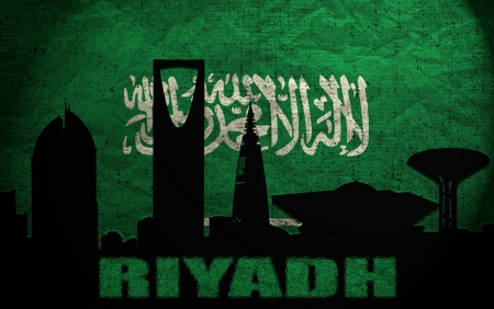 View of Riyadh on the Grunge Saudi Arabia Flag Stock Photo