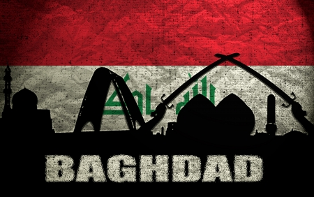iraqi: View of Baghdad on the Grunge Iraqi Flag
