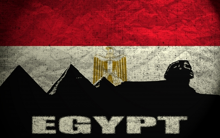 View of Egypt on the Grunge Flag photo