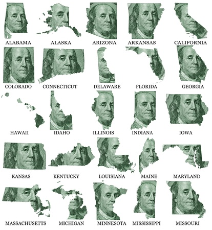 American States From A to M  money maps on a white background photo